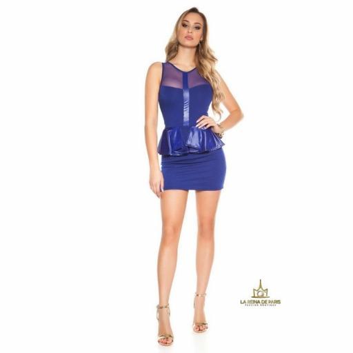 Mini vestido azul péplum de moda [3]