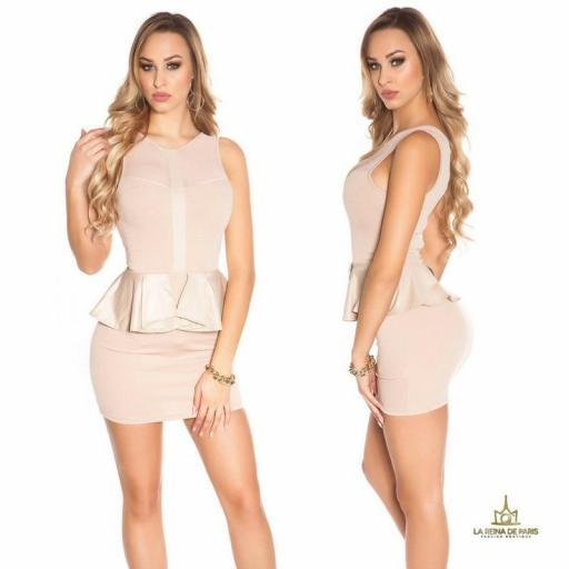 Mini vestido beige péplum de moda [1]