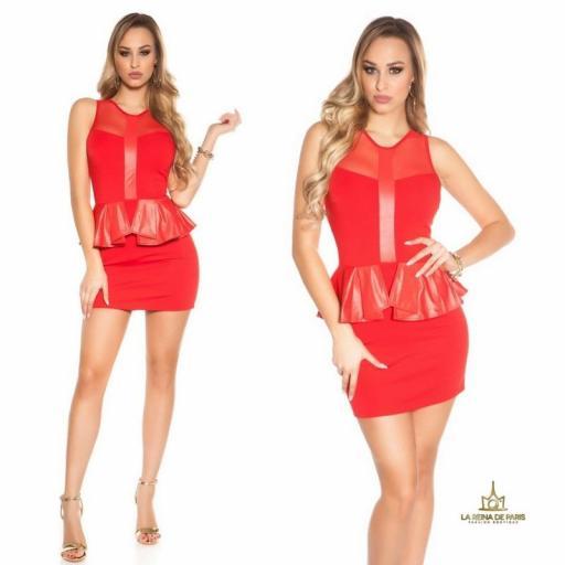 Mini vestido rojo péplum de moda [3]