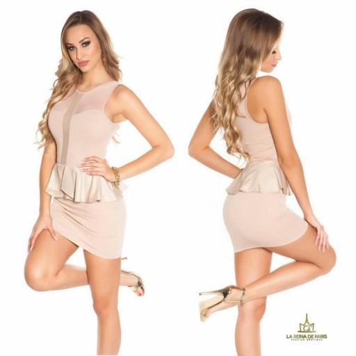 Mini vestido beige péplum de moda [2]