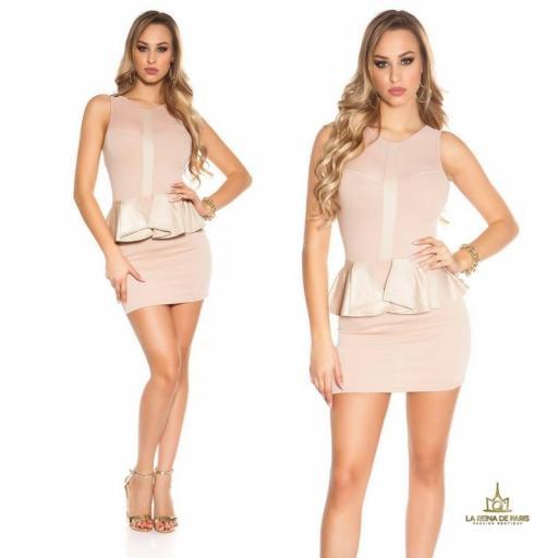 Mini vestido beige péplum de moda [3]