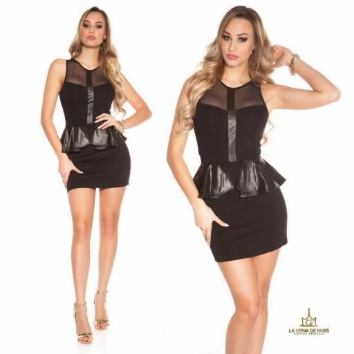 Mini vestido negro péplum de moda [3]