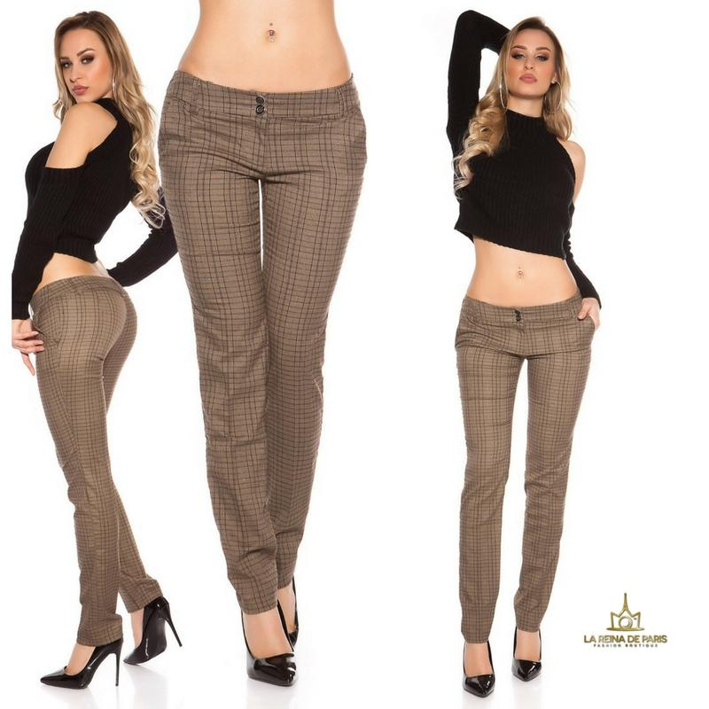 Pantalones rectos tartán brillante
