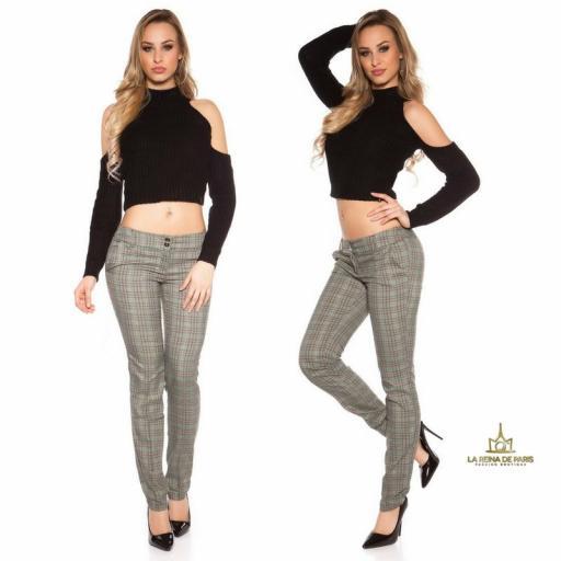 Pantalones rectos tartán brillante  [3]