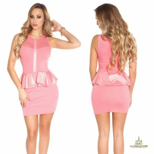Mini vestido coral péplum de moda
