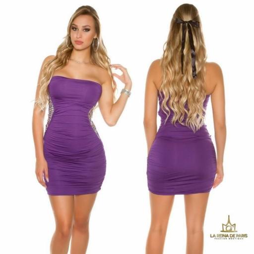 Mini vestido púrpura con lentejuelas