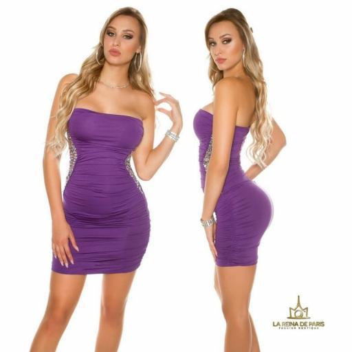 Mini vestido púrpura con lentejuelas  [2]