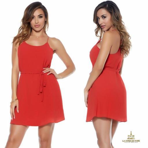 Vestido corto rojo de gasa miniprecio
