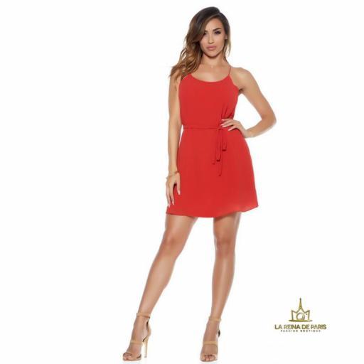 Vestido corto rojo de gasa miniprecio [3]