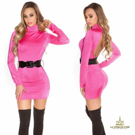 Vestido fucsia ceñido cinturón a juego  [1]