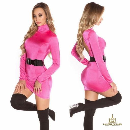Vestido fucsia ceñido cinturón a juego  [2]