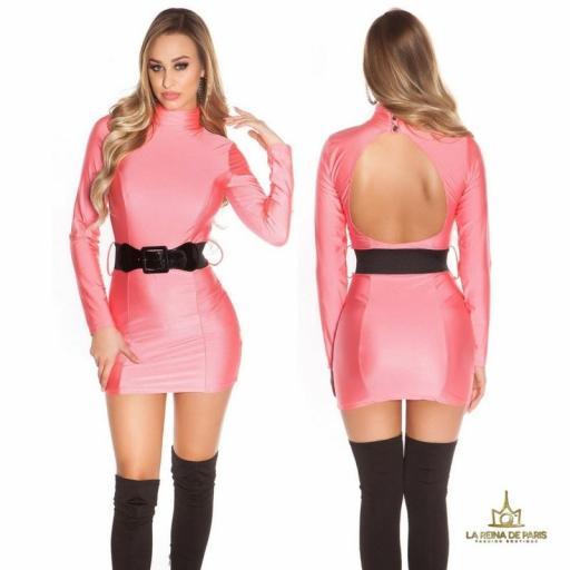 Vestido fucsia neón cinturón a juego  [0]