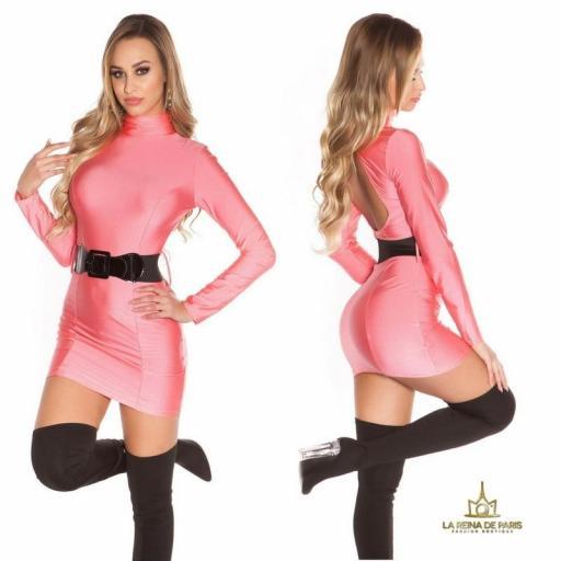 Vestido fucsia neón cinturón a juego  [2]