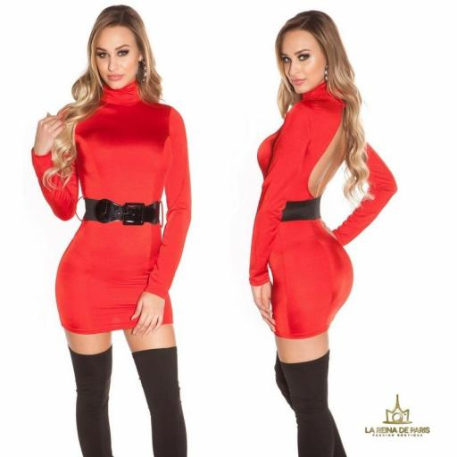 Vestido rojo ceñido cinturón a juego  [1]