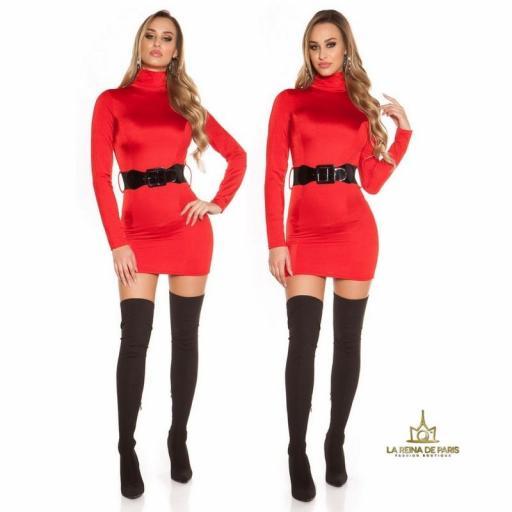 Vestido rojo ceñido cinturón a juego  [3]