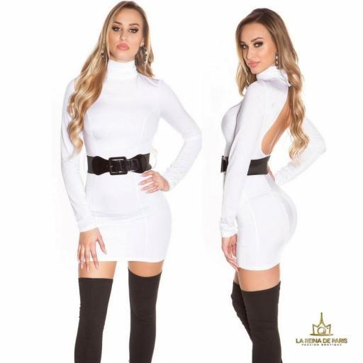 Vestido blanco ceñido cinturón a juego  [1]