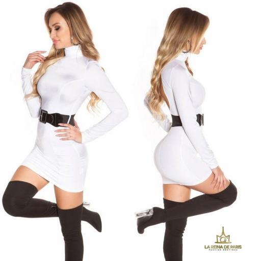 Vestido blanco ceñido cinturón a juego  [2]