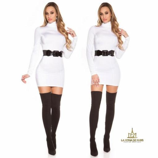 Vestido blanco ceñido cinturón a juego  [3]