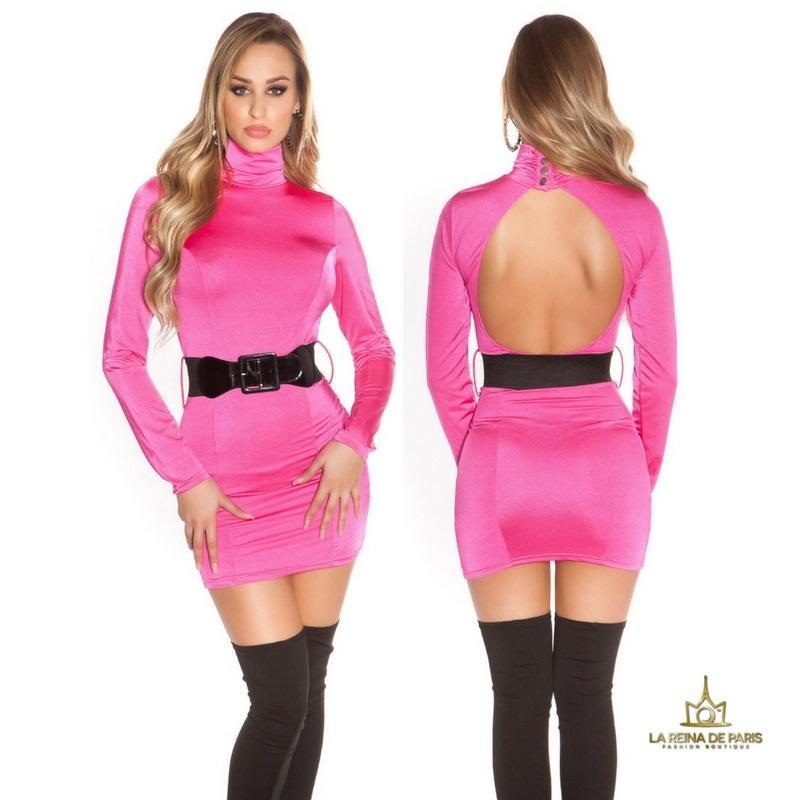 Vestido fucsia ceñido cinturón a juego