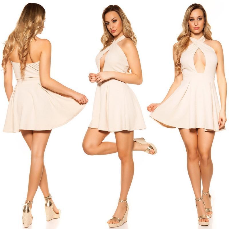 Mini vestido suelto y divino beige