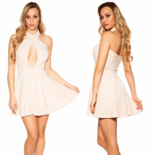 Mini vestido suelto y divino beige [2]