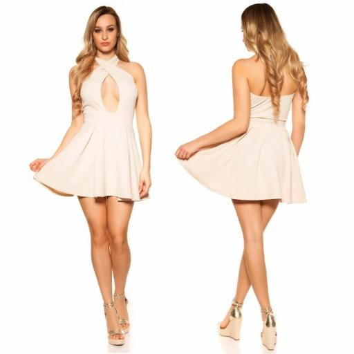 Mini vestido suelto y divino beige [1]