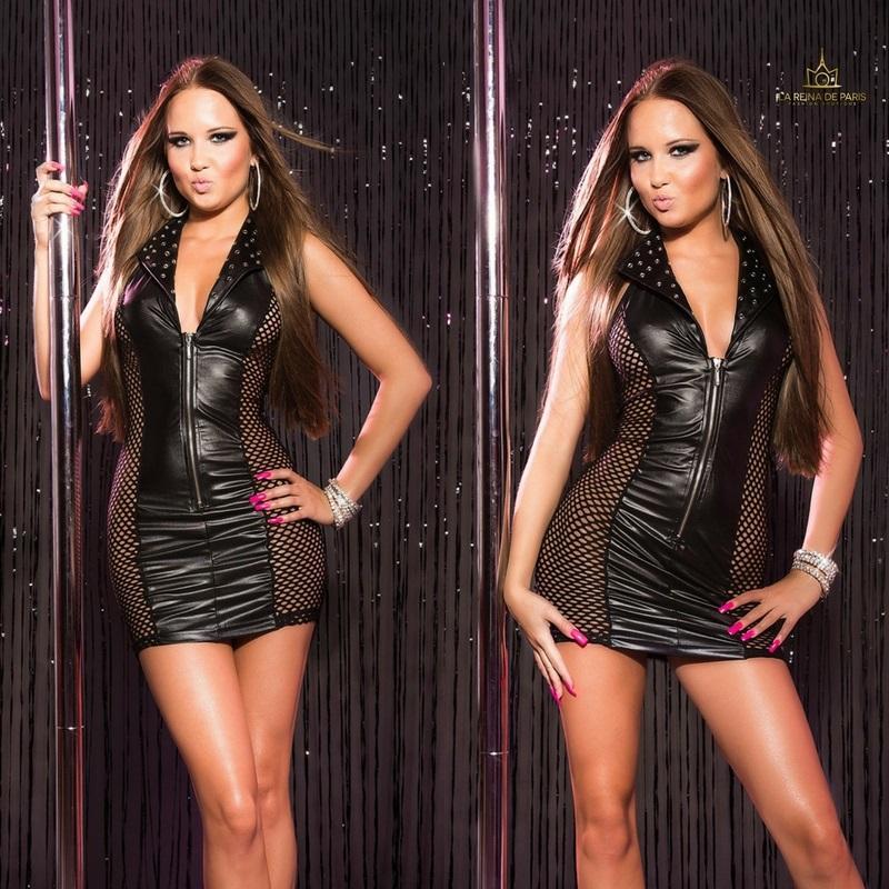 Vestido negro efecto cuero con red