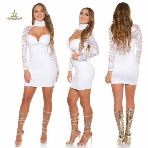 vestido blanco de manga larga con encaje [1]