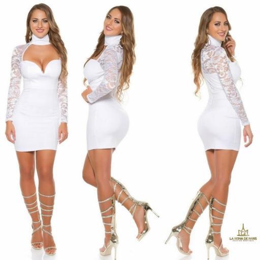 vestido blanco de manga larga con encaje [2]