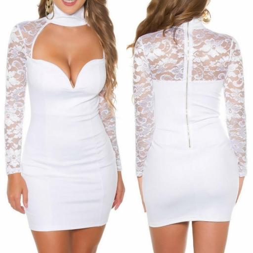 vestido blanco de manga larga con encaje [3]