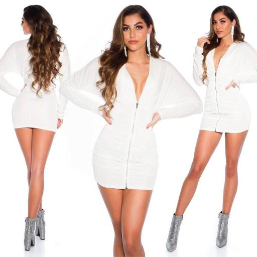 Vestido terciopelo con cremallera blanco