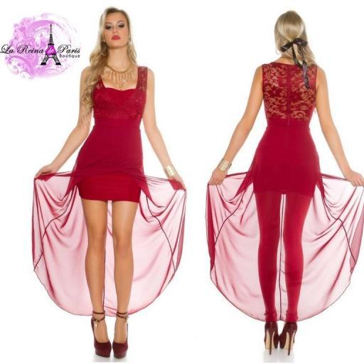 Vestido con encaje atractivo burdeos [2]