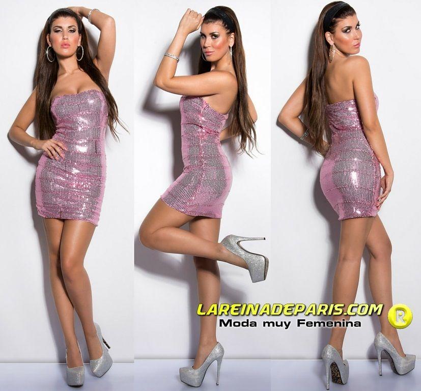 Vestido de noche con lentejuelas rosa