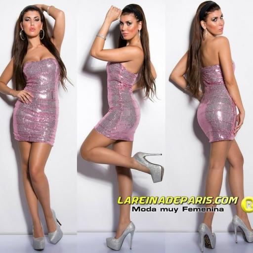 Vestido de noche con lentejuelas rosa [0]