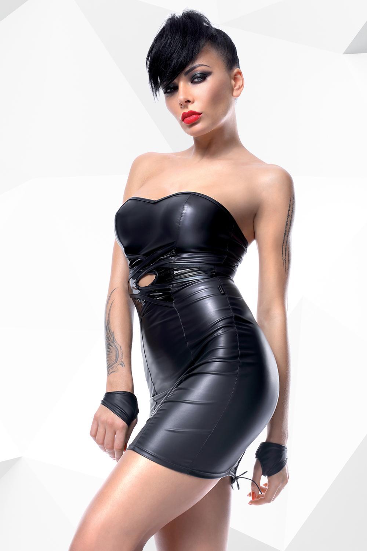 Mini vestido negro PVC brillante