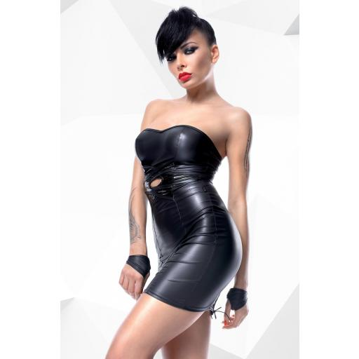 Mini vestido negro PVC brillante
