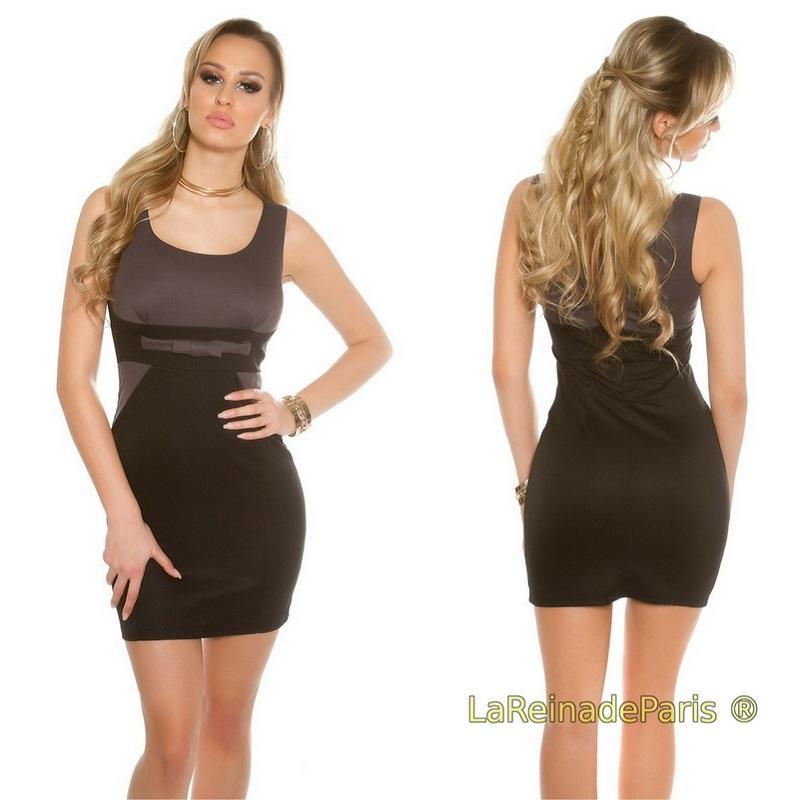 Mini vestido atractivo bicolor antracita