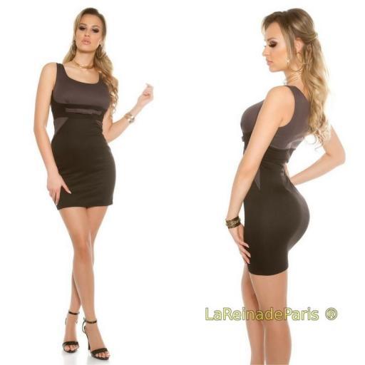 Mini vestido atractivo bicolor antracita [1]