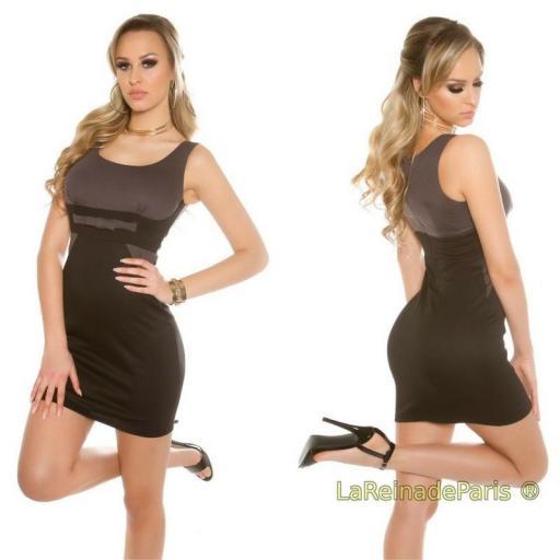 Mini vestido atractivo bicolor antracita [2]