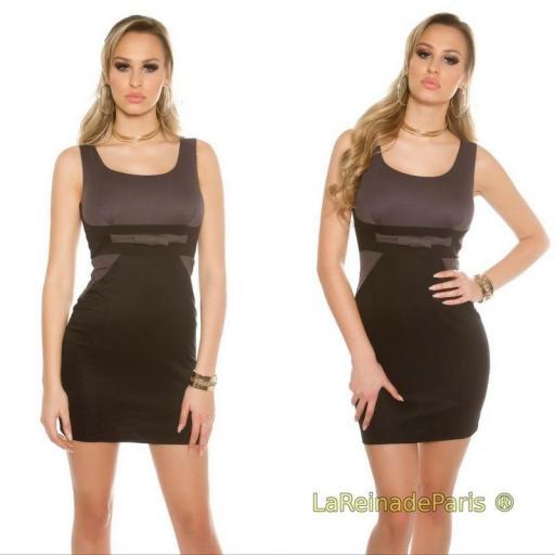 Mini vestido atractivo bicolor antracita [3]