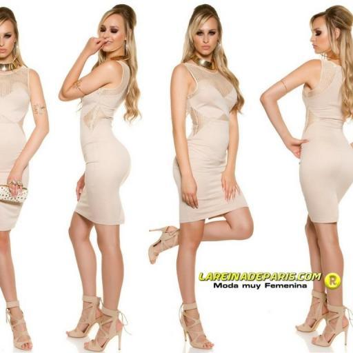 Vestido atractivo de moda malla beige [1]