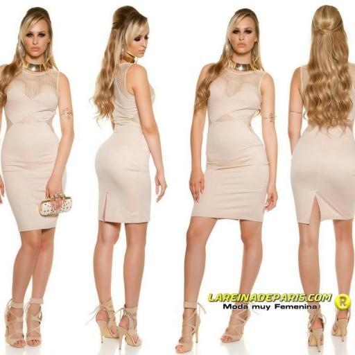 Vestido atractivo de moda malla beige [2]