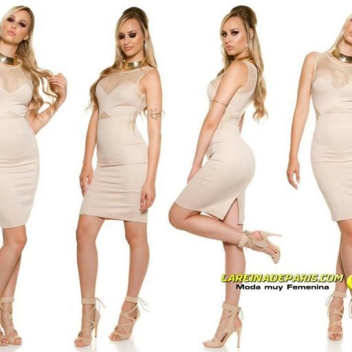 Vestido atractivo de moda malla beige [3]