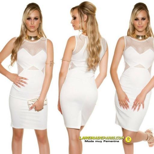 Vestido de moda con malla blanco