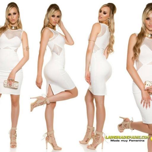 Vestido de moda con malla blanco  [1]