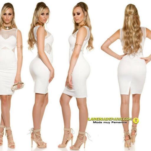 Vestido de moda con malla blanco  [2]