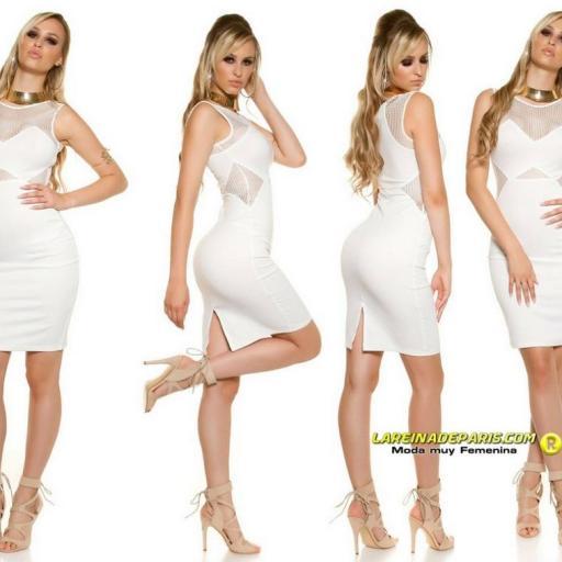 Vestido de moda con malla blanco  [3]