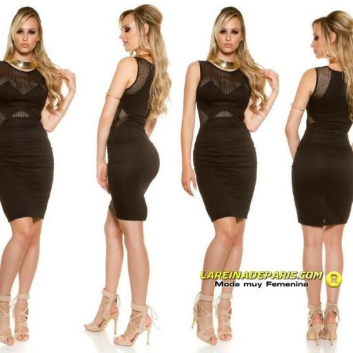 Vestido de moda con malla negro [1]