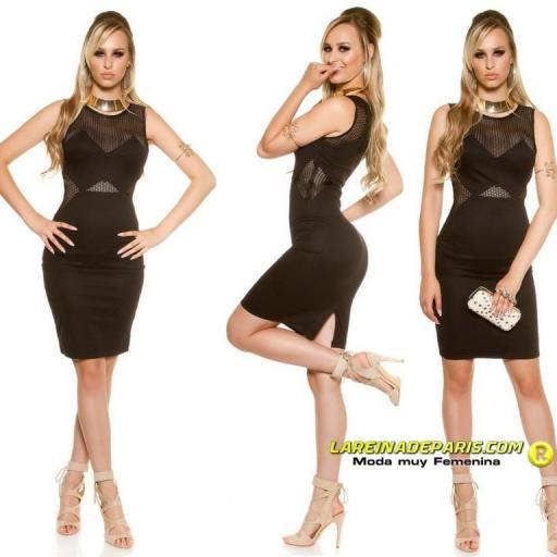 Vestido de moda con malla negro [2]