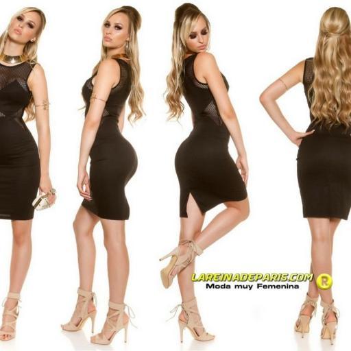Vestido de moda con malla negro [3]